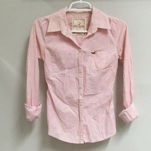 Hollister Pink Pin Striped Button-Down Blouse